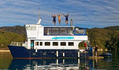 Floating backpacker accommodation in the Abel Tasman