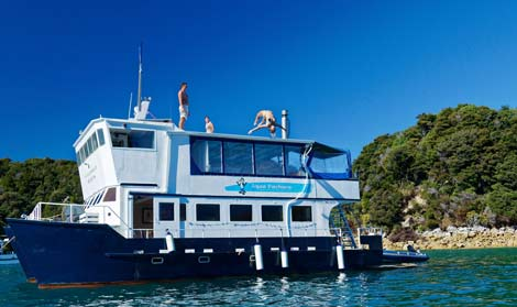 Guests enjoy jumping off the Aquapackers in the Abel Tasman
