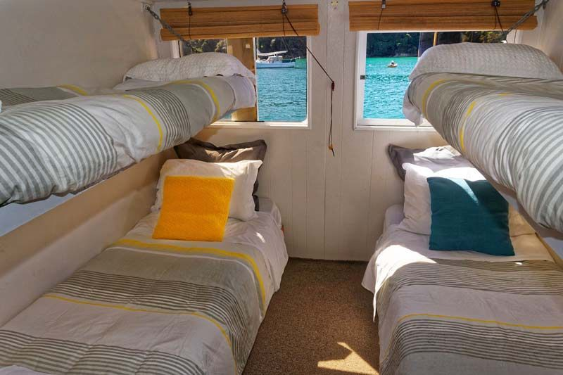 Backpackers dorm accommodation on Aquapackers, Abel Tasman, Nelson, New Zealand